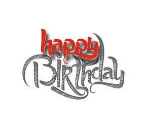 Happy Birthday text made of handwriting Design