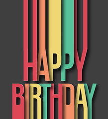Happy Birthday paper cut text on abstract background