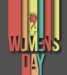 Womens day paper cut text. Vector illustration.