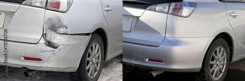 自動車の修理の前と後