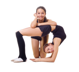 Two girls engaged art gymnastic