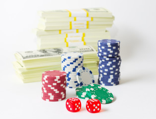 Gambling chips dices and heap of dollars