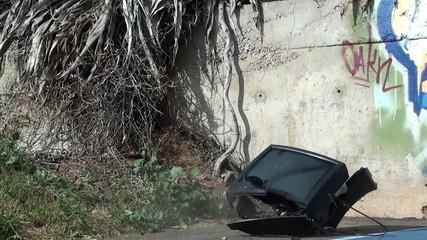 Old CRT television smashed (Slow Motion)