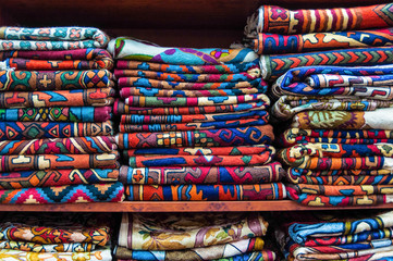 Colourful Fabrics display, Muscat, Oman