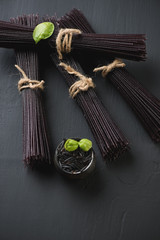 Traditional japanese ingredient: noodles made from black rice