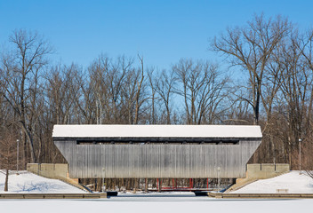 Snowy New Brownsville Covered Bridge