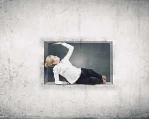 Woman in cube