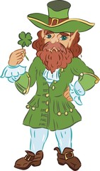 Leprechaun in a green coat with four-leaf clover