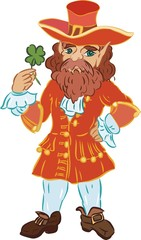 Leprechaun in a red coat with four-leaf clover