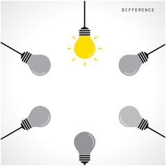 Creative light bulb Idea concept banner background. Different ba