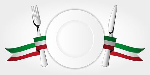 Plate with tableware & italian tape