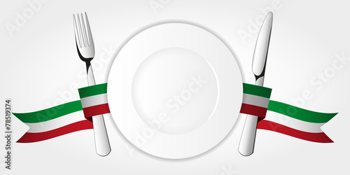 Plate with tableware & italian tape - 78519374