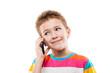 Smiling child boy talking mobile phone or smartphone