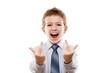 Smiling child boy gesturing middle finger obscene sign for negat