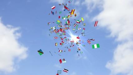 舞い散る国旗
