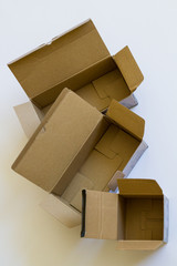 Open cardboard boxes.