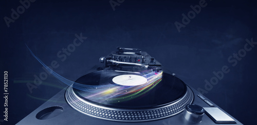 canvas print picture Music player playing vinyl music with colourful abstract lines