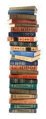 Old book pile isolated on white background