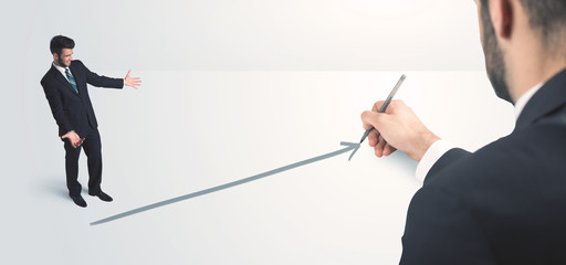 Business person looking at line drawn by hand