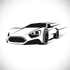 Label with a picture of a racing car. Vector.