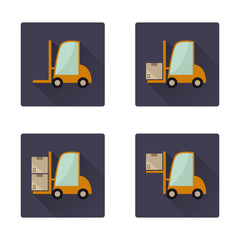 Forklift long shadow flat icons set