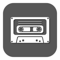 The tape icon. Cassette symbol. Flat