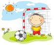 Boy playing football as a goalkeeper