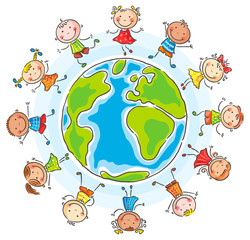 Children of different nationalities round the globe