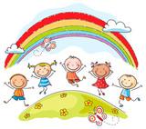 Kids jumping with joy underneath a rainbow