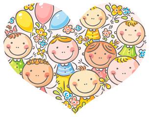 Kids faces in a heart shape
