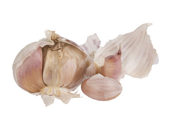 Garlic with cloves isolated on white background