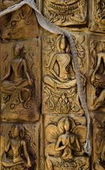 Shedding snake skin on Buddha statue wall
