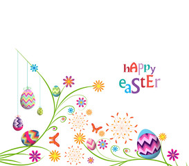 happy easter eggs with floral background