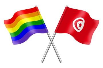 Flags: rainbow and Tunisia