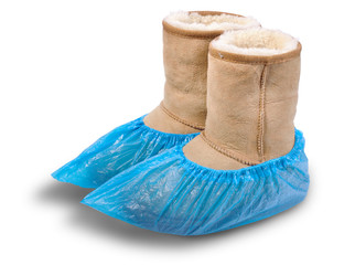 Women's shoe in shoe covers.