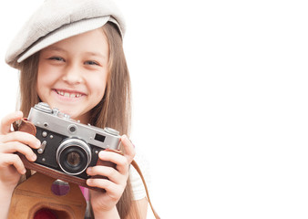child photographer isolated on a white background