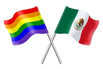 Flags: rainbow and Mexico