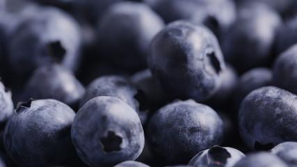fresh ripe blueberries rotating