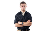 Young strong businessman  in black shirt with white cravat