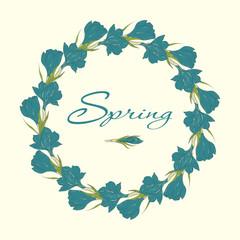 Wreath with crocus spring flowers