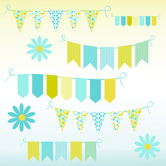 Bunting and garlands, vector illustration