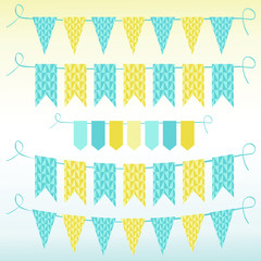 Bunting and garlands, vector illustration.