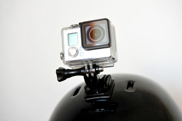 Action camera on sports helmet