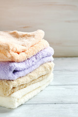 Stack terry towels