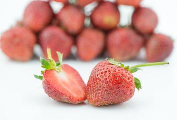 Fresh slice strawberry isolated on white background