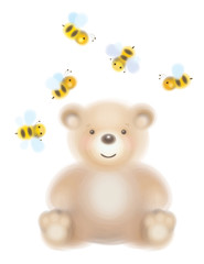 Vector cute  bear and bees isolated.