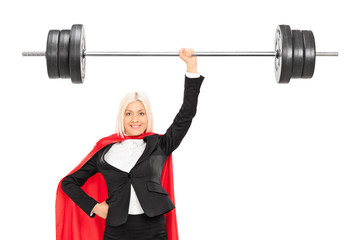Female superhero lifting a barbell