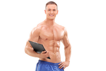 Handsome male fitness coach