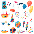 Celebration set of party icons and objects. - 78525126