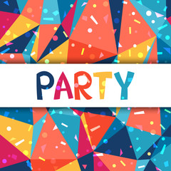 Celebration party poster with shiny confetti.